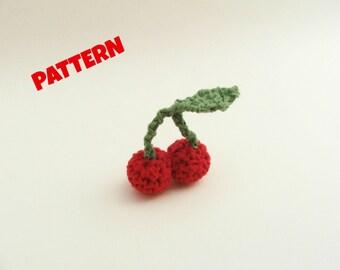 Amigurumi Cherry Pattern, Amigurumi Fruit Pattern, Crochet Fruit Pattern, Crochet Amigurumi Pattern, Amigurumi Patterns, Crochet Patterns