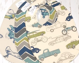 Vehicle Baby Boy Bibs  - Set of 3 Triple Layer Chenille  - Retro Rides Cars & Trucks, Airplanes and See Saw Chevron