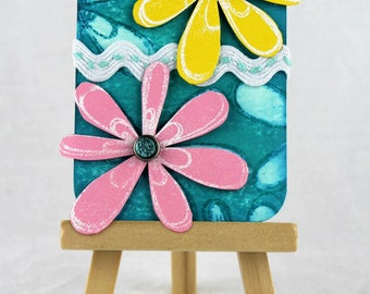 ACEO ATC, artist trading card, spring art card, spring decor, Easter decor, spring mixed media, Easter mixed media, gift for her