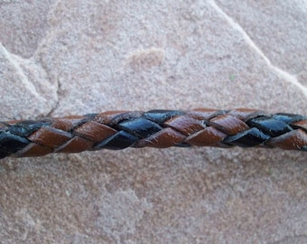 Hand braided Leather cord  6 - Strand