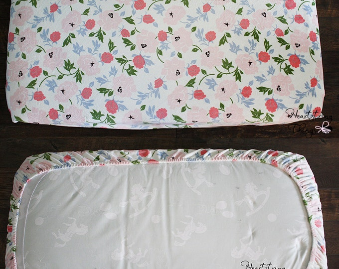 READY TO SHIP Crib sheet, Minky Sheet, Fitted sheet, soft sheet, Toddler Bed sheet, Floral Sheet, White and Coral, Baby bedding, Baby girl