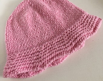 Organic Pink Knitted Cotton Hat With Brim For Babies, Bucket Style Baby Hat, Hand Knit Cool Cotton Summer Hat, Vegan Floppy Hat 0 - 4 Months