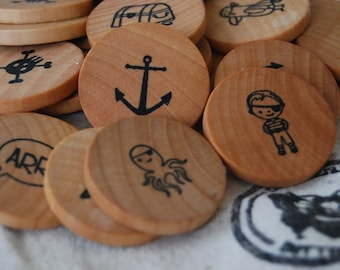 Wooden Coin Memory Matching Game - Pirate Theme