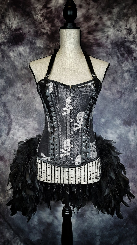 SKULL & BONES Cosplay Costume Day of the Dead black feather skeleton burlesque corset dress