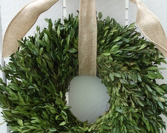 Dried Boxwood Wreath  Green Wreath  Boxwood Wreath   Home Decor  Wedding Decor  Hand Crafted Wreath   Wedding Wreath