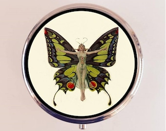 Art Deco Butterfly Pill Box Case Pillbox Holder Trinket Stash Box 1920s Jazz Age Flapper