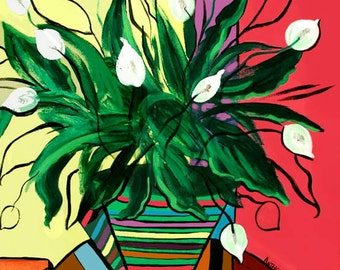 Peace Lilly Print Poster Flowers Still Life Cubism Anthony Falbo