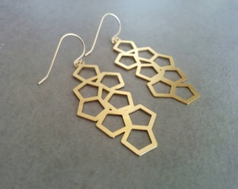Geometric Earrings, Gold Earrings, Geometric Jewelry, inspirational women gift, Honeycomb Earrings, Dangle Earrings, Hexagon Earrings