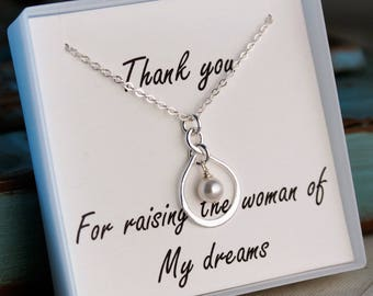 Mother of the Bride Necklace / Sterling Silver Infinity Necklace with pearl or birthstone / Thank you for raising the mother of my dreams