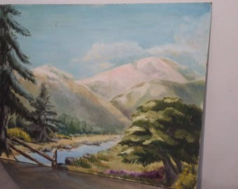 Original Oil on Board Painting Picture of Mountain Snow Alps Highlands Scene.
