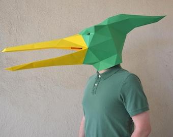 Dinosaur Mask - Pterodactyl Mask Paper Pattern   Halloween Mask   Dinosaur Mask   Papercraft Template   Pteranodon Mask & Dinosaur mask   Etsy