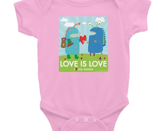 Love is Love - I Love My Moms Infant Bodysuit / LBGT & Gay Pride / Two Moms / Lesbian Moms / Lesbian Baby Shower Gift / Donate to ACLU