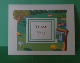 Golf Theme Thank You Note Cards
