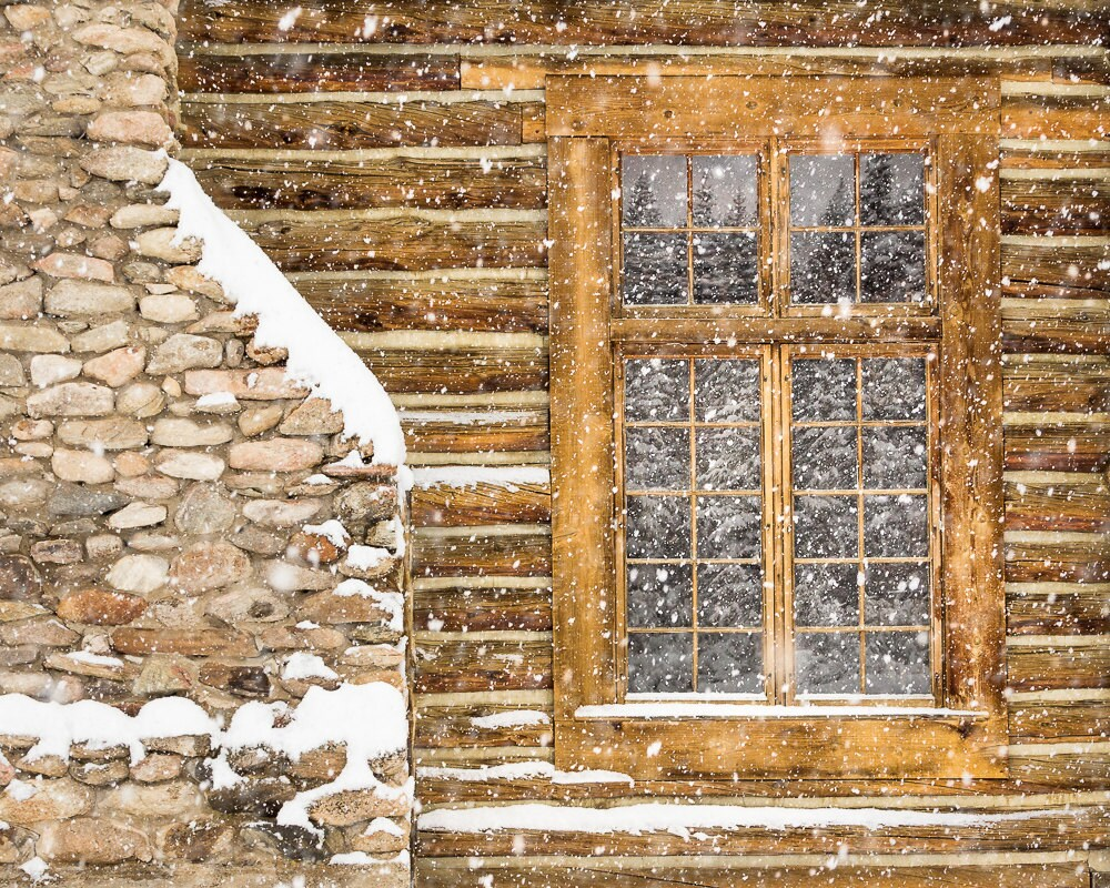 Rustic winter decor log cabin photo snowy photo country for Winter cabin bedding
