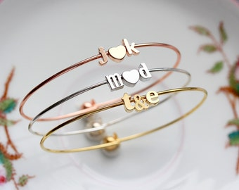 Initials Bangle Bracelet - Lowercase Initial Custom Bridal Gift Personalized Bridesmaid Wedding Initial Gift for Her Bride Dainty Minimalist