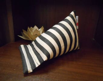 Black and Cream Striped Fabric Print Mobile Phone Stand (Small)