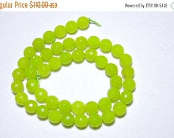 25% OFF Summer Sale 46 Pieces Natural Prehnite Chalcedony Faceted Balls Shaped Beads Size 8 MM