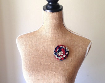 Upcycled Oscar de la Renta Necktie Floral Pansy Brooch in Red White and Blue - OOAK reTIEd Lapel Pin