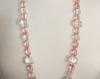 Vintage Art Deco Clear Faceted Glass & Pink Lucie Necklace