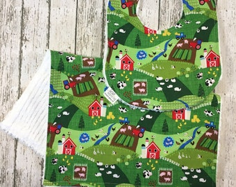 Farm Baby Bibs - Burping Set - Tractor Enthusiast - Farmer Baby Gift - Cotton Baby Bib - Farm Baby Nursery - Farm Baby Shower Gift