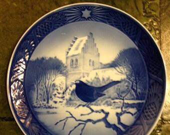 Royal Copenhagen Porcelain Plate - Blackbird At Christmas Time - 1966