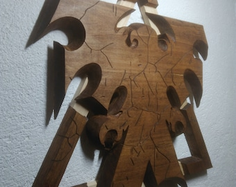 Terran logo from Starcraft 2/ SC2 . Legacy of the Void symbol. Carved from limewood
