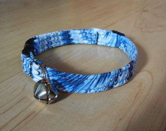Custom Blue marbled BREAKAWAY CAT COLLAR  kitty collar