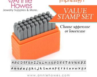 Metal Stamp Alphabet Set. Your Choice of Uppercase or Lowercase set. Impressart Basic Bridgette Alphabet Stamps