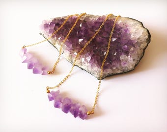 Crystal necklace, Raw amethyst necklace, Amethyst necklace, Bar necklace, Stacking necklace,Gift for her,Healing crystal,February birthstone