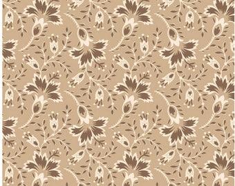 "Brown,  beige and cream designed  fabric called  ""Hold 'Em or Fold ""Em""."