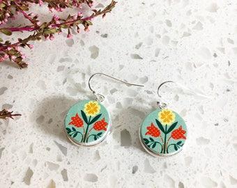 Wooden Earrings, Flower Earrings, Drop Earrings, Dangle Earrings, Wood Earrings, Unique Earrings, Picture Earrings, Flower Folk Earrings