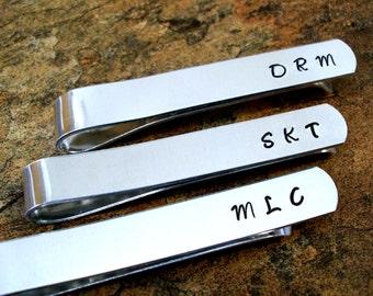 Personalized Tie Clip, Personalized Tie Bar, Groomsmen Wedding Tie Bar, Hand Stamped Tie Bar, Gift for Groom, Gift for Groomsmen