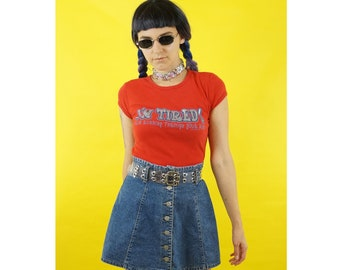 I'm Tired 90s Graphic Tee Short Sleeve Shirt, 90s Vintage, Bubble Font 90s Tops, Women's Size Small