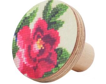 Red flower furniture knob
