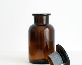 250 ml (8.5 fl oz) Amber Apothecary Jar, Round Czech Glass