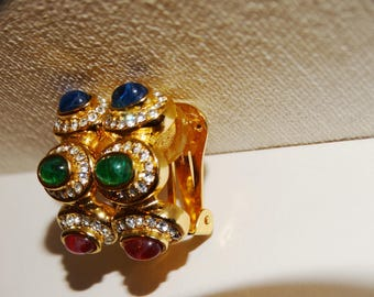 Vintage Christian Dior Couture Gold Plate Clip On Earrings.