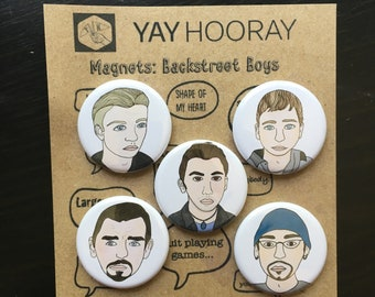 Backstreet Boys, boy band, 90's, pin button badges, magnets hand drawn illustrations, Nick Carter, Brian Littrell, Howie D, AJ, Kevin