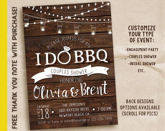 I do bbq invitation, I do bbq, couples shower, I do printable invitation