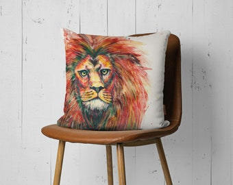 Pillow with lion, watercolor motif, hand sewn, 50 x 50 cm, with individualized back, gift idea