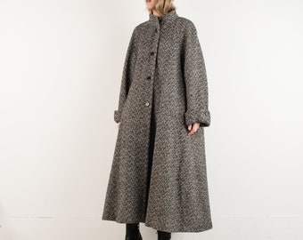 VINTAGE CHEVRON TWEED Oversized Wool Swing Coat / S / hipster jacket coat womens outerwear overcoat oversized coat tweed black and white