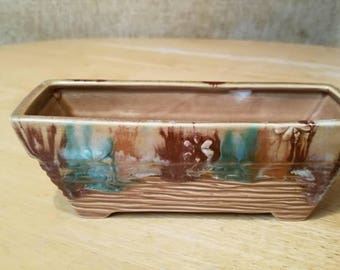 Brown and Green Vintage Ceramic  Succulent Vase