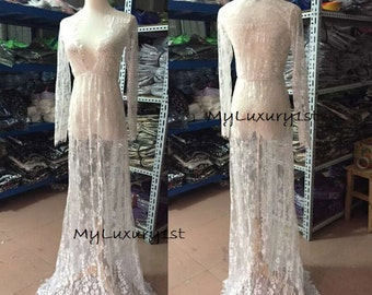 See THROUGH Lace Night Gown Lingerie Dress Sexy Women SIZE XL x Large Bathing Suit Cover Maternity White Long Newly Wed Wedding Date Night