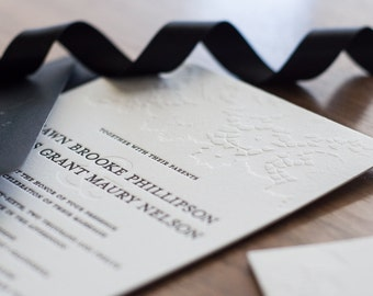 Black & White Letterpress Wedding Invitation Suite