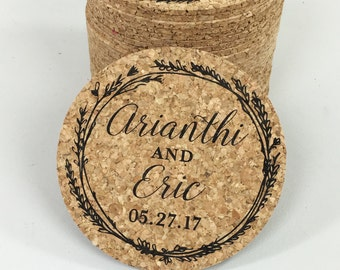 Black Whimsical Wreath Cork Coaster Wedding Favors Personalized with Names and Wedding Date / Wedding Reception Cork Coaster Favor