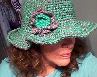 Grey and green wool hat