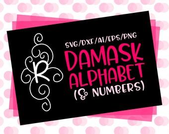 CLN0594 Damask Alphabet & Letters Hand Drawn Monogram  SVG DXF Ai Eps PNG Vector Instant Download Commercial Cut File Cricut SIlhouette