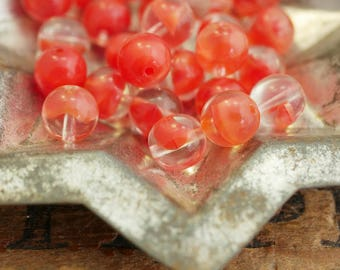 Vintage Givre Glass Beads 8mm Bead Tomatoe Red and Clear Beads (12)