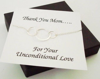 Large Triple Circle Infinity Silver Bracelet ~Personalized Jewelry Card for Mom, Mother in Law, Mother of Groom, or Step Mom, Thank You Card