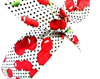 Rockabilly Pin up Headband White Polka Dot  Cherry Wire