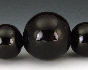 Blown Glass Hollow beads in Black, set of 5 graduated beads
